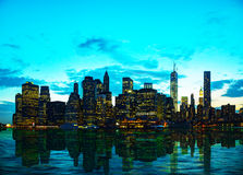 New York City cityscape at sunset Royalty Free Stock Images