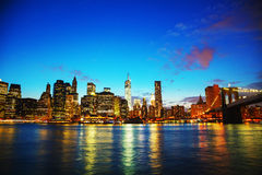 New York City cityscape at sunset Royalty Free Stock Photos