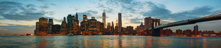 New York City cityscape at sunset Stock Image