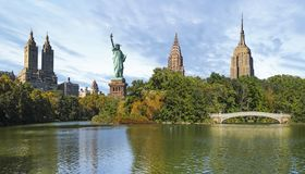New York City Collage of Central Park and NYC Landmarks stock illustration
