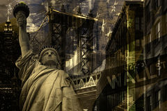 New York City collage including the Statue of Liberty and severa Stock Images