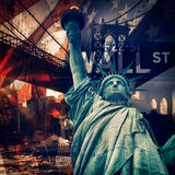 New York City collage including the Statue of Liberty and severa Royalty Free Stock Photos