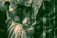New York City collage including the Statue of Liberty and severa. L other worldwide famous landmarks stock photography
