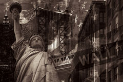 New York City collage including the Statue of Liberty and severa Royalty Free Stock Image