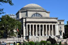 New York City: Columbia University Library. The great neo-classical Library of Columbia University with its distinctive stairways and round dome is the stock images
