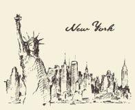New York City con lo schizzo di vettore della statua della libertà Fotografie Stock Libere da Diritti