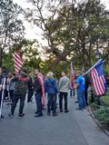 New York City Confederate Flag, Trump Supporters, Washington Square Park, NYC, NY, USA. It`s almost one year after the historic election of Donald Trump as the Royalty Free Stock Photo
