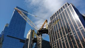 New York City Crane Work, Midtown, NYC, NY, USA Arkivfoto