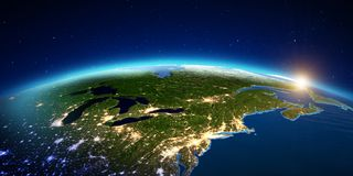 New York City da alba dello spazio rappresentazione 3d Immagine Stock