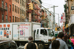 NEW YORK CITY - 16 DE JUNIO: Chinatown con una población estimada Imagen de archivo libre de regalías