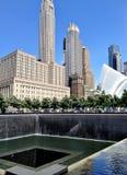 New York City - 21 de junio de 2017 - 9 11 monumento en el World Trade Center, punto cero Imagen de archivo libre de regalías