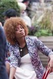 New York City - 10 de octubre: Wi afroamericanos jovenes magníficos de la mujer Imagen de archivo
