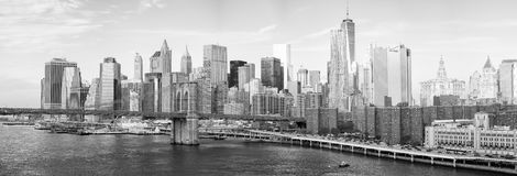 NEW YORK CITY - 22 DE OUTUBRO DE 2015: Skyline do Lower Manhattan de M fotos de stock