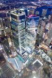 NEW YORK CITY - DECEMBER 7, 2018: Manhattan aerial skyline in World Trade Center area at night, downward view. New York attracts royalty free stock photo