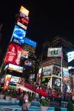 NEW YORK CITY - December 25, 2010: Times Square med LEDDE annonser på Broadway på natten, Manhattan på December 25, 2010 i New Yo Arkivbild