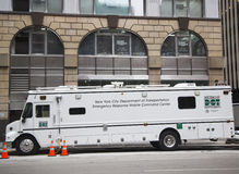New York City Department of Transportation Emergency Response mobile command center during Super Bowl XLVIII week near Times Squar Stock Photos