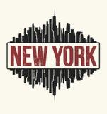 New York City diagram, t-skjorta design, utslagsplatstryck, typografi stock illustrationer