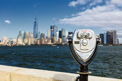 The New York City Downtown with the Binocular Royalty Free Stock Images
