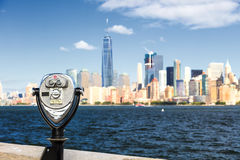 The New York City Downtown with the Binocular Stock Photo