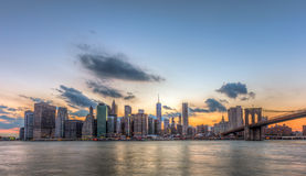 New York City downtown and Brooklyn bridge. Royalty Free Stock Photo