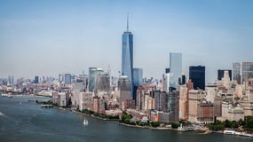 New York City - Downtown Manhattan Sky View. This photo was taken in June 2014 in New York City, USA Royalty Free Stock Photography