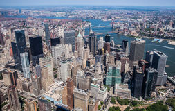 New York City - Downtown Manhattan Sky View. This photo was taken in June 2014 in New York City, USA. You can see the financial district in this photo Stock Photos