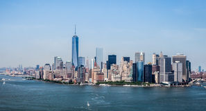 New York City - Downtown Manhattan Sky View. This photo was taken in June 2014 in New York City, USA. You can see the Freedom Tower in this photo Stock Photos
