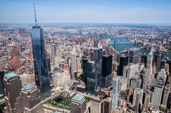 New York City - Downtown Manhattan Sky View. This photo was taken in June 2014 in New York City, USA. You can see the Freedom Tower in this photo Stock Image