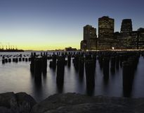 Downtown Manhattan Skyline from the Brooklyn Bridge Park Royalty Free Stock Photo