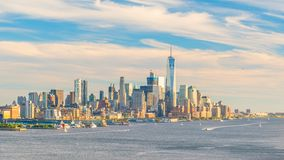 New York City downtown Manhattan sunset skyline panorama view over Hudson River stock images