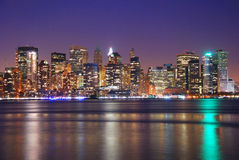 New York City Downtown at night Stock Photo