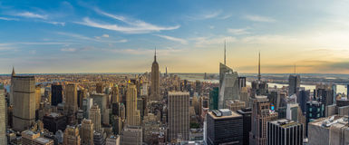 New York City downtown skyline in the afternoon. From rockefeller skydeck Stock Photos