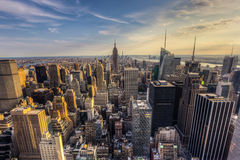 New York City downtown skyline in the afternoon from rockefeller Royalty Free Stock Images
