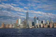 New York City downtown skyline with Freedom Tower as seen from Jersey City April 2017 Royalty Free Stock Images