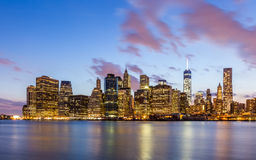 New York City downtown skyline at night Royalty Free Stock Photography