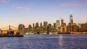 New York City Downtown Skyline Time Lapse stock video