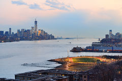 New York City downtown sunset Stock Images