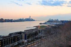 New York City downtown sunset Stock Photo
