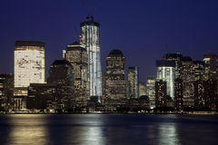 The New York City Downtown w the Freedom tower Stock Photography