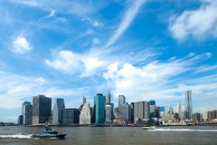 The New York City Downtown w the Freedom tower Stock Image