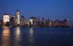 The New York City Downtown w the Freedom tower Royalty Free Stock Images