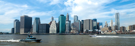 The New York City Downtown w the Freedom tower Royalty Free Stock Photography
