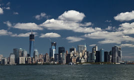 The New York City Downtown w the Freedom tower Stock Photos