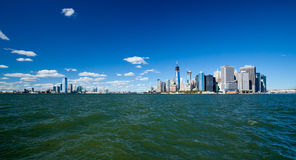 The New York City Downtown w the Freedom tower and New Jersey Royalty Free Stock Image