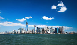 The New York City Downtown w the Freedom tower Royalty Free Stock Photo