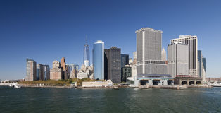 The New York City Downtown w the Freedom tower 2014. The New York City skyline at afternoon w the Freedom tower 2014 Royalty Free Stock Photos