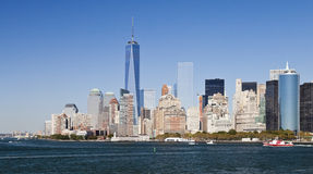 The New York City Downtown w the Freedom tower 2014. The New York City skyline at afternoon w the Freedom tower 2014 Royalty Free Stock Photography
