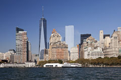 The New York City Downtown w the Freedom tower 2014 Stock Images