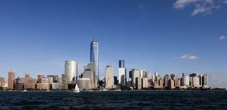 The New York City Downtown w the Freedom tower 2014 Stock Photography
