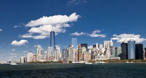 The New York City Downtown w the Freedom tower 2014 Royalty Free Stock Image